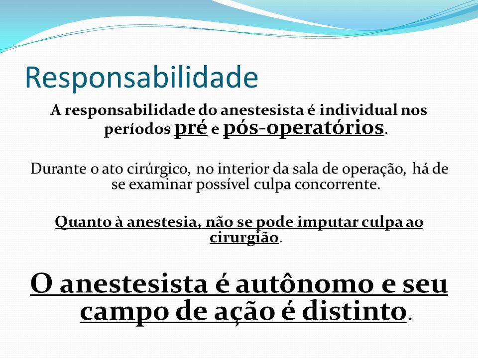 Responsabilidade A responsabilidade do anestesista é individual nos períodos pré e pós-operatórios. Durante o ato cirúrgico, no interior da sala de op