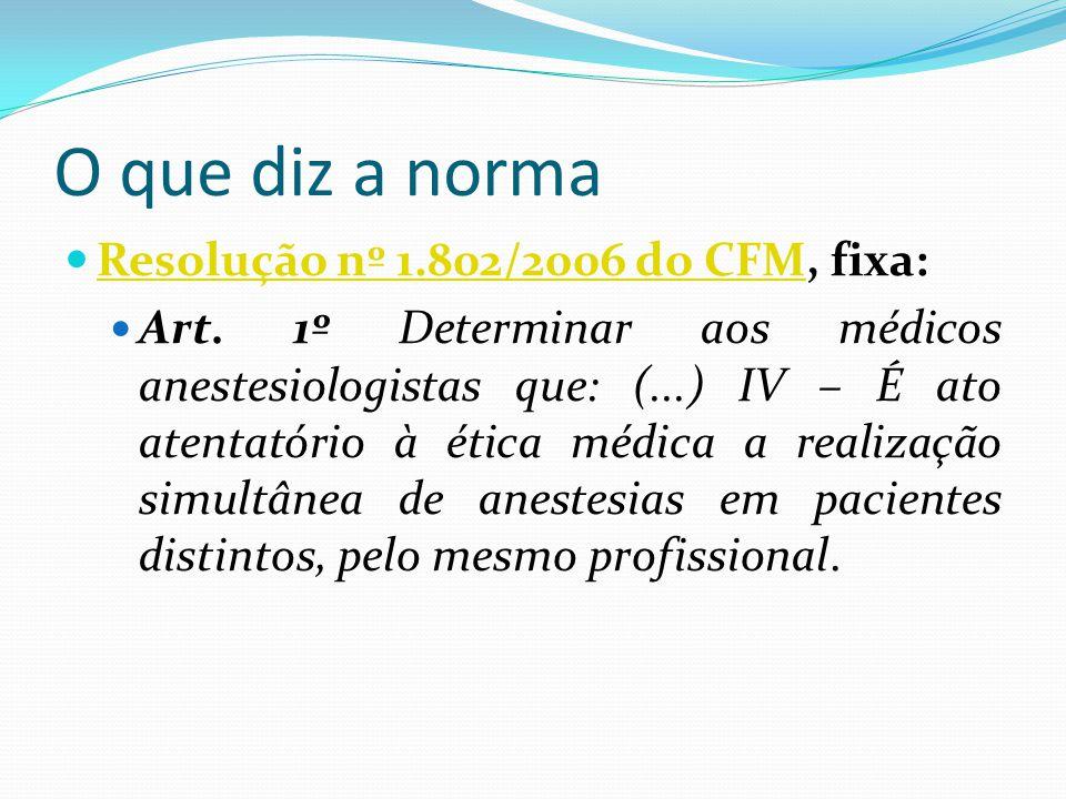 O que diz a norma Resolução nº 1.802/2006 do CFM, fixa: Resolução nº 1.802/2006 do CFM Art.
