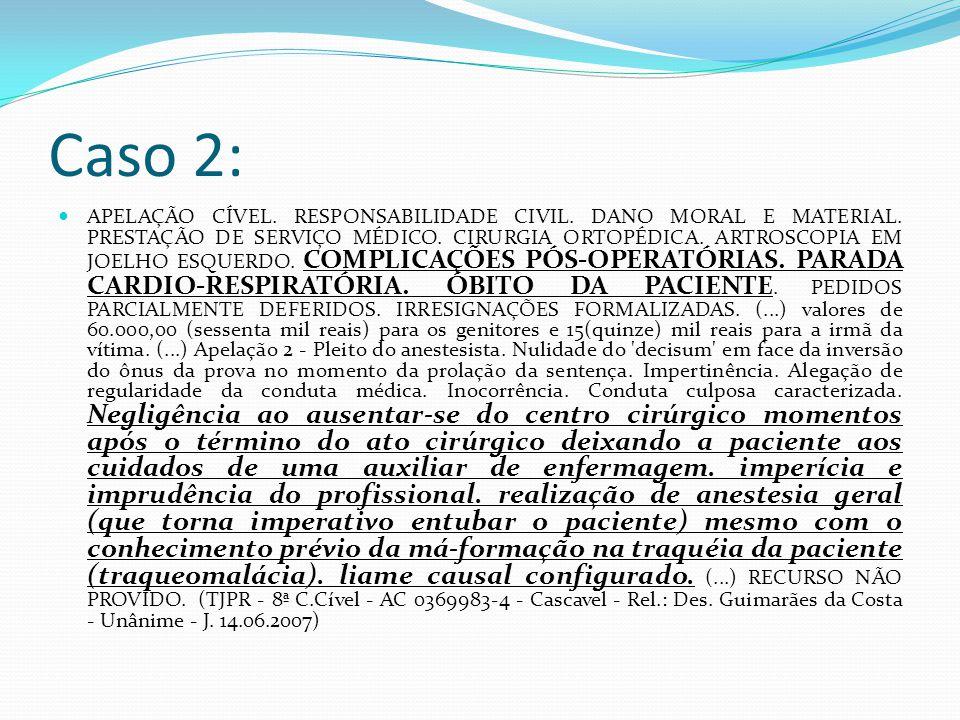 Caso 2: APELAÇÃO CÍVEL. RESPONSABILIDADE CIVIL. DANO MORAL E MATERIAL. PRESTAÇÃO DE SERVIÇO MÉDICO. CIRURGIA ORTOPÉDICA. ARTROSCOPIA EM JOELHO ESQUERD