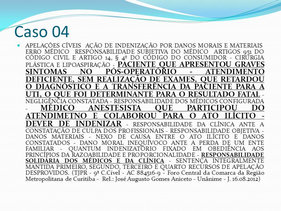 Caso 04 APELAÇÕES CÍVEIS  AÇÃO DE INDENIZAÇÃO POR DANOS MORAIS E MATERIAIS  ERRO MÉDICO  RESPONSABILIDADE SUBJETIVA DO MÉDICO  ARTIGOS 951 DO CÓDIGO CIVIL E ARTIGO 14, § 4º DO CÓDIGO DO CONSUMIDOR - CIRURGIA PLÁSTICA E LIPOASPIRAÇÃO - PACIENTE QUE APRESENTOU GRAVES SINTOMAS NO PÓS-OPERATÓRIO - ATENDIMENTO DEFICIENTE, SEM REALIZAÇÃO DE EXAMES, QUE RETARDOU O DIAGNÓSTICO E A TRANSFERÊNCIA DA PACIENTE PARA A UTI, O QUE FOI DETERMINANTE PARA O RESULTADO FATAL - NEGLIGÊNCIA CONSTATADA - RESPONSABILIDADE DOS MÉDICOS CONFIGURADA - MÉDICO ANESTESISTA QUE PARTICIPOU DO ATENDIMETNO E COLABOROU PARA O ATO ILÍCITO - DEVER DE INDENIZAR - RESPONSABILIDADE DA CLÍNICA ANTE A CONSTATAÇÃO DE CULPA DOS PROFISSIONAIS - RESPONSABILIDADE OBJETIVA - DANOS MATERIAIS - NEXO DE CAUSA ENTRE O ATO ILÍCITO E DANOS CONSTATADOS - DANO MORAL INEQUÍVOCO ANTE A PERDA DE UM ENTE FAMILIAR - QUANTUM INDENIZATÓRIO FIXADO EM OBEDIÊNCIA AOS PRINCÍPIOS DA RAZOABILIDADE E PROPORCIONALIDADE - RESPONSABILIDADE SOLIDÁRIA DOS MÉDICOS E DA CLÍNICA - SENTENÇA INTEGRALMENTE MANTIDA PRIMEIRO, SEGUNDO, TERCEIRO E QUARTO RECURSOS DE APELAÇÃO DESPROVIDOS.
