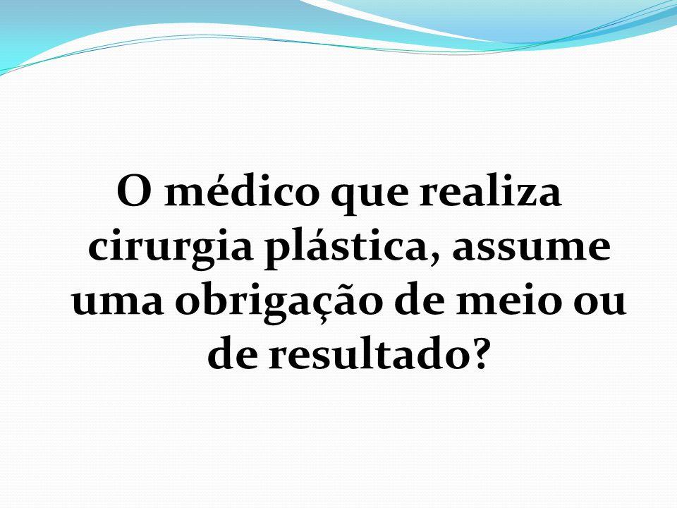 O médico que realiza cirurgia plástica, assume uma obrigação de meio ou de resultado?
