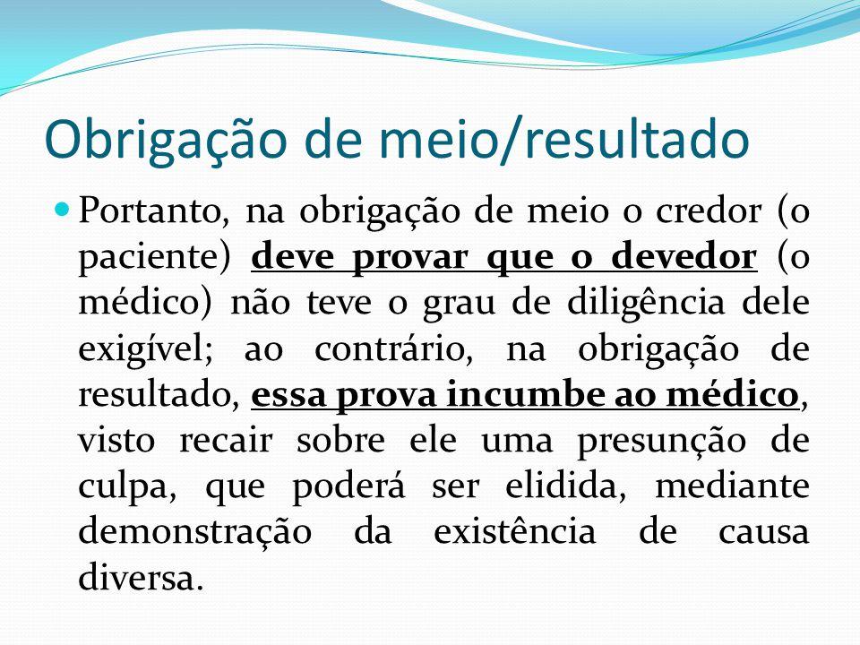 Obrigação de meio/resultado Portanto, na obrigação de meio o credor (o paciente) deve provar que o devedor (o médico) não teve o grau de diligência de