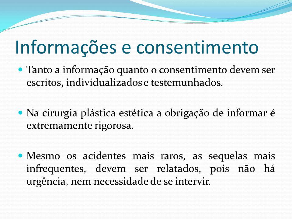 Informações e consentimento Tanto a informação quanto o consentimento devem ser escritos, individualizados e testemunhados. Na cirurgia plástica estét