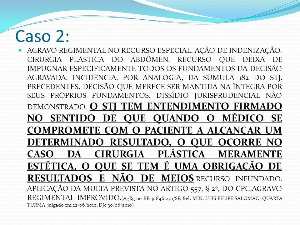 Caso 2: AGRAVO REGIMENTAL NO RECURSO ESPECIAL. AÇÃO DE INDENIZAÇÃO. CIRURGIA PLÁSTICA DO ABDÔMEN. RECURSO QUE DEIXA DE IMPUGNAR ESPECIFICAMENTE TODOS