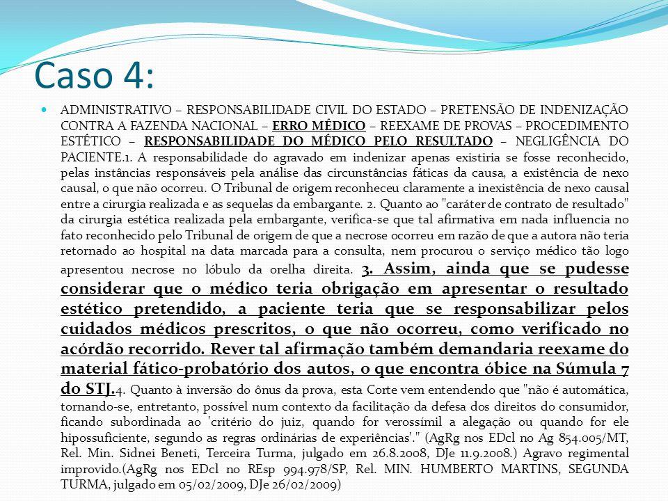 Caso 4: ADMINISTRATIVO – RESPONSABILIDADE CIVIL DO ESTADO – PRETENSÃO DE INDENIZAÇÃO CONTRA A FAZENDA NACIONAL – ERRO MÉDICO – REEXAME DE PROVAS – PROCEDIMENTO ESTÉTICO – RESPONSABILIDADE DO MÉDICO PELO RESULTADO – NEGLIGÊNCIA DO PACIENTE.1.
