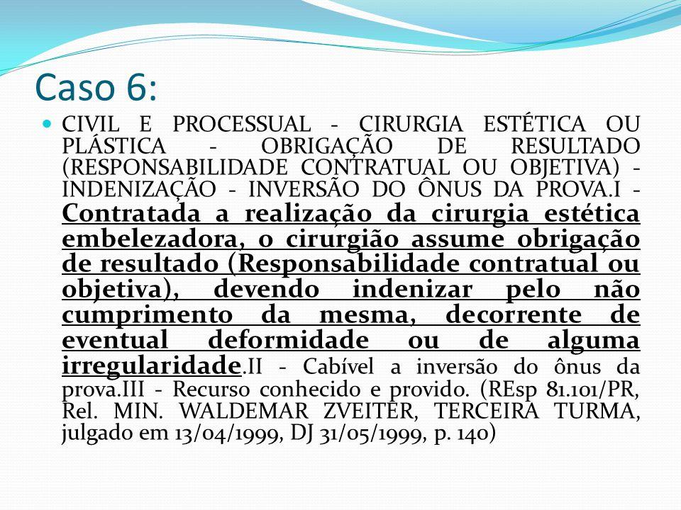 Caso 6: CIVIL E PROCESSUAL - CIRURGIA ESTÉTICA OU PLÁSTICA - OBRIGAÇÃO DE RESULTADO (RESPONSABILIDADE CONTRATUAL OU OBJETIVA) - INDENIZAÇÃO - INVERSÃO DO ÔNUS DA PROVA.I - Contratada a realização da cirurgia estética embelezadora, o cirurgião assume obrigação de resultado (Responsabilidade contratual ou objetiva), devendo indenizar pelo não cumprimento da mesma, decorrente de eventual deformidade ou de alguma irregularidade.II - Cabível a inversão do ônus da prova.III - Recurso conhecido e provido.