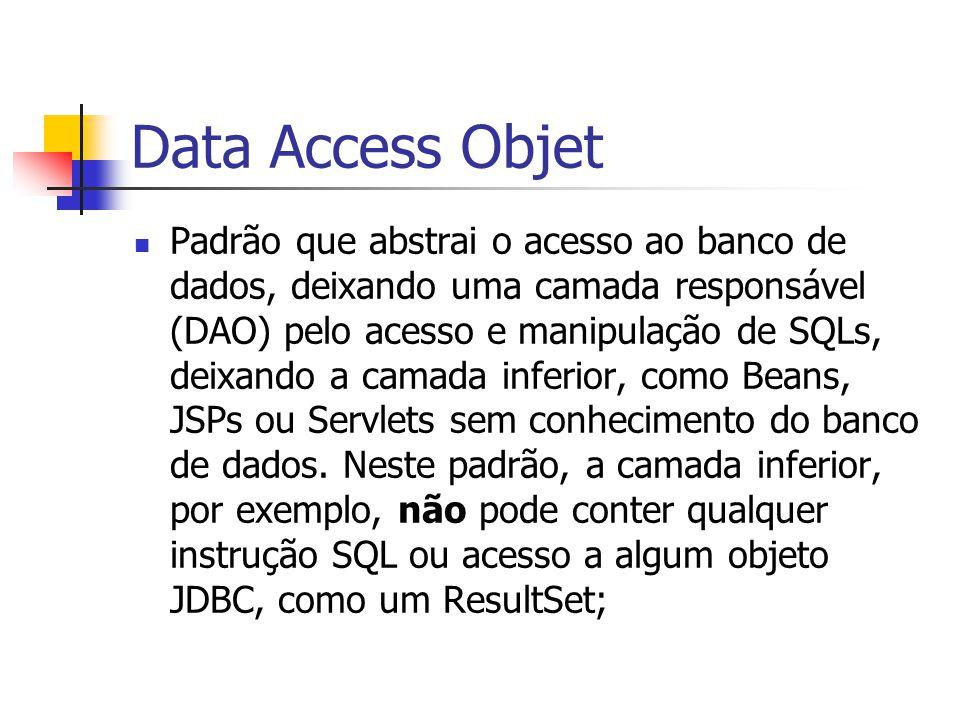 Data Access Objet Padrão que abstrai o acesso ao banco de dados, deixando uma camada responsável (DAO) pelo acesso e manipulação de SQLs, deixando a c