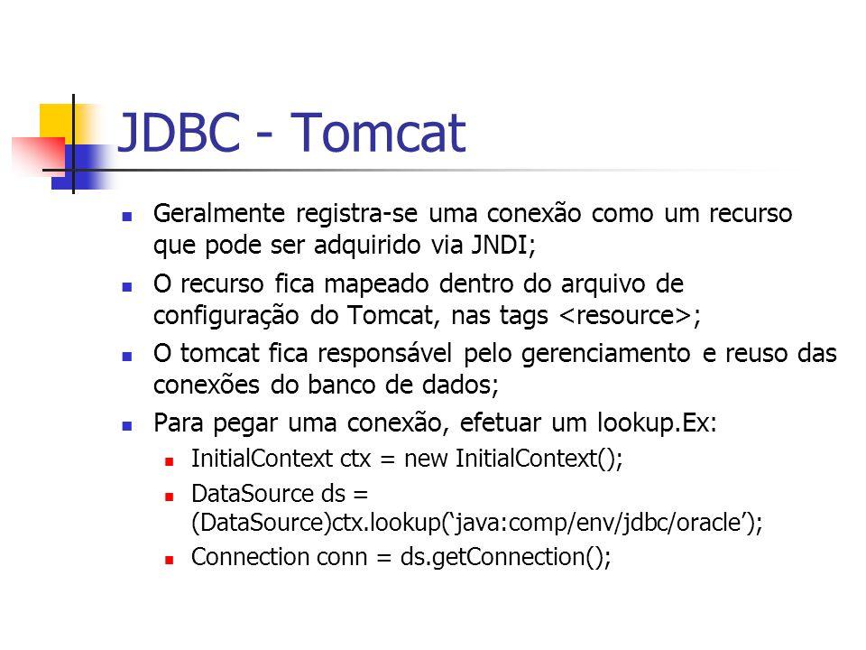 JDBC - Tomcat Geralmente registra-se uma conexão como um recurso que pode ser adquirido via JNDI; O recurso fica mapeado dentro do arquivo de configur