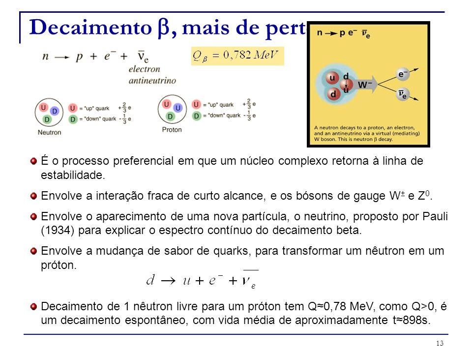 13 É o processo preferencial em que um núcleo complexo retorna à linha de estabilidade. Envolve a interação fraca de curto alcance, e os bósons de gau