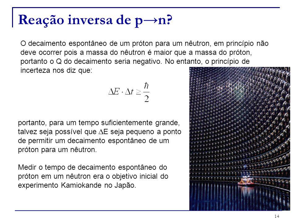 14 Reação inversa de pn? O decaimento espontâneo de um próton para um nêutron, em princípio não deve ocorrer pois a massa do nêutron é maior que a mas
