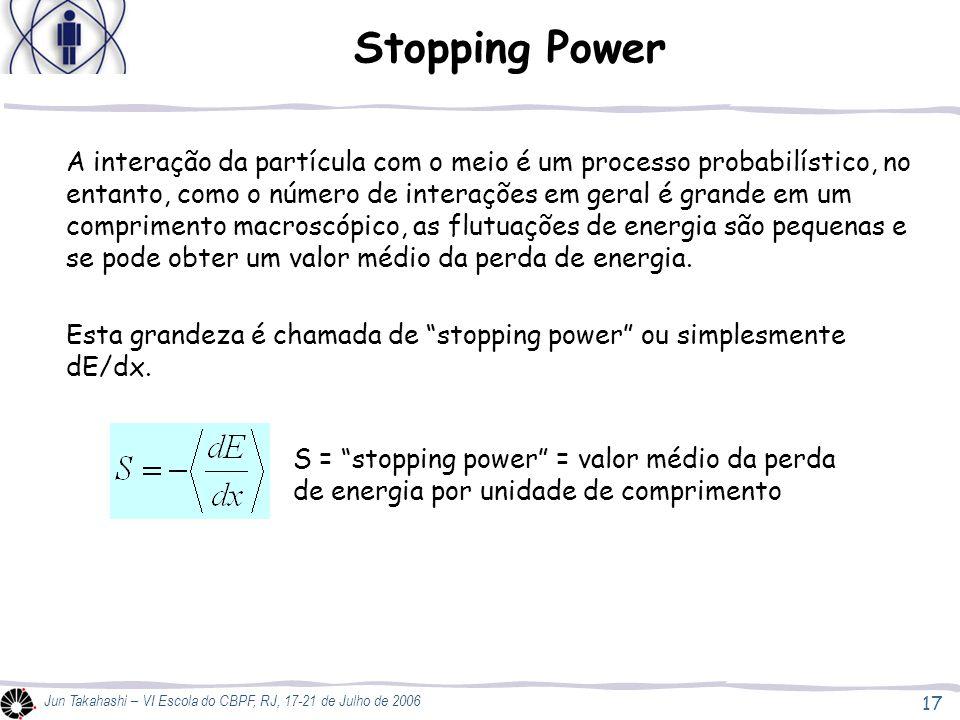 17 Jun Takahashi – VI Escola do CBPF, RJ, 17-21 de Julho de 2006 Stopping Power A interação da partícula com o meio é um processo probabilístico, no e
