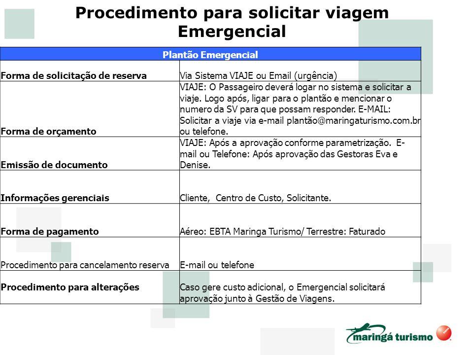Procedimento para solicitar viagem Emergencial Plantão Emergencial Forma de solicitação de reservaVia Sistema VIAJE ou Email (urgência) Forma de orçam
