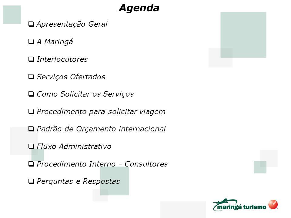 Apresentação Geral A Maringá Interlocutores Serviços Ofertados Como Solicitar os Serviços Procedimento para solicitar viagem Padrão de Orçamento inter