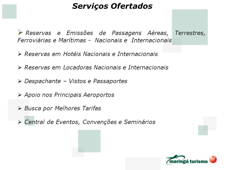Serviços Ofertados Reservas e Emissões de Passagens Aéreas, Terrestres, Ferroviárias e Marítimas - Nacionais e Internacionais Reservas em Hotéis Nacio