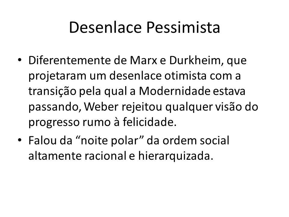 Desenlace Pessimista Diferentemente de Marx e Durkheim, que projetaram um desenlace otimista com a transição pela qual a Modernidade estava passando,
