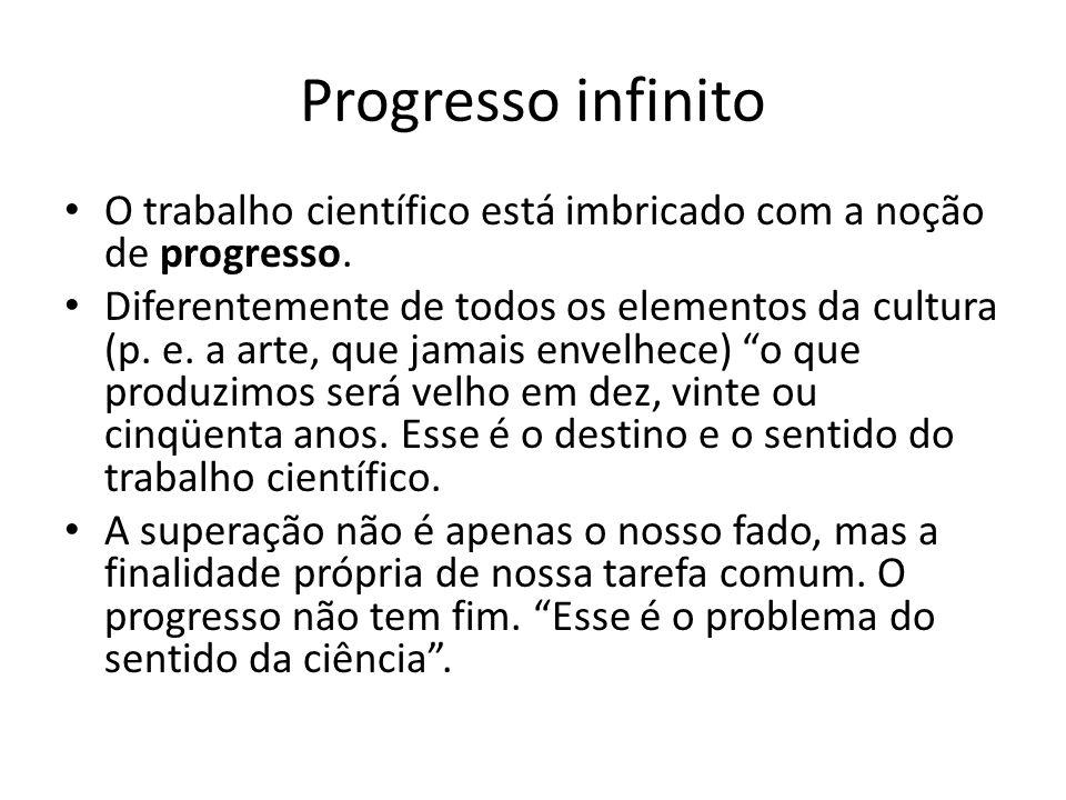 Progresso infinito O trabalho científico está imbricado com a noção de progresso. Diferentemente de todos os elementos da cultura (p. e. a arte, que j