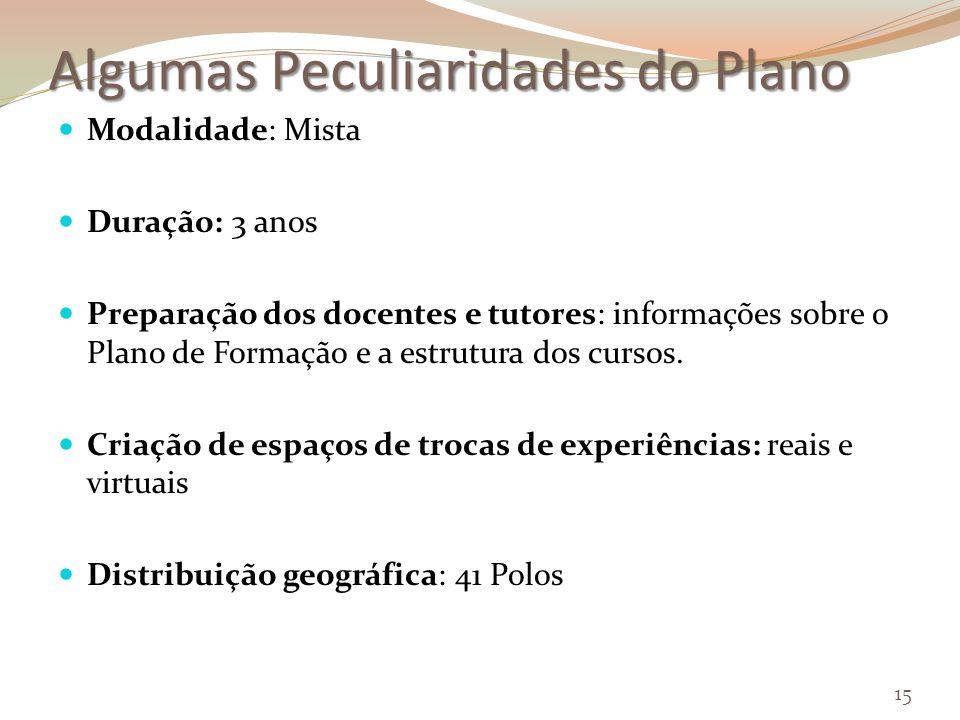 Algumas Peculiaridades do Plano Modalidade: Mista Duração: 3 anos Preparação dos docentes e tutores: informações sobre o Plano de Formação e a estrutura dos cursos.