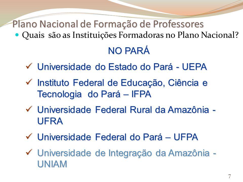 Plano Nacional de Formação de Professores Quais são as Instituições Formadoras no Plano Nacional.