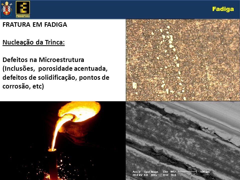Fadiga FRATURA EM FADIGA Nucleação da Trinca: Defeitos na Microestrutura (Inclusões, porosidade acentuada, defeitos de solidificação, pontos de corros