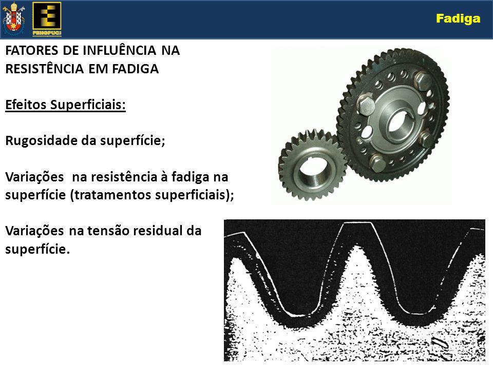 Fadiga FATORES DE INFLUÊNCIA NA RESISTÊNCIA EM FADIGA Efeitos Superficiais: Rugosidade da superfície; Variações na resistência à fadiga na superfície