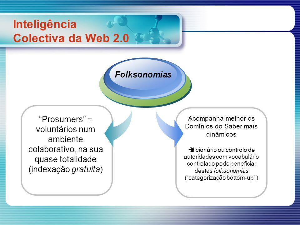 Prosumers = voluntários num ambiente colaborativo, na sua quase totalidade (indexação gratuita) Inteligência Colectiva da Web 2.0 Folksonomias Acompan