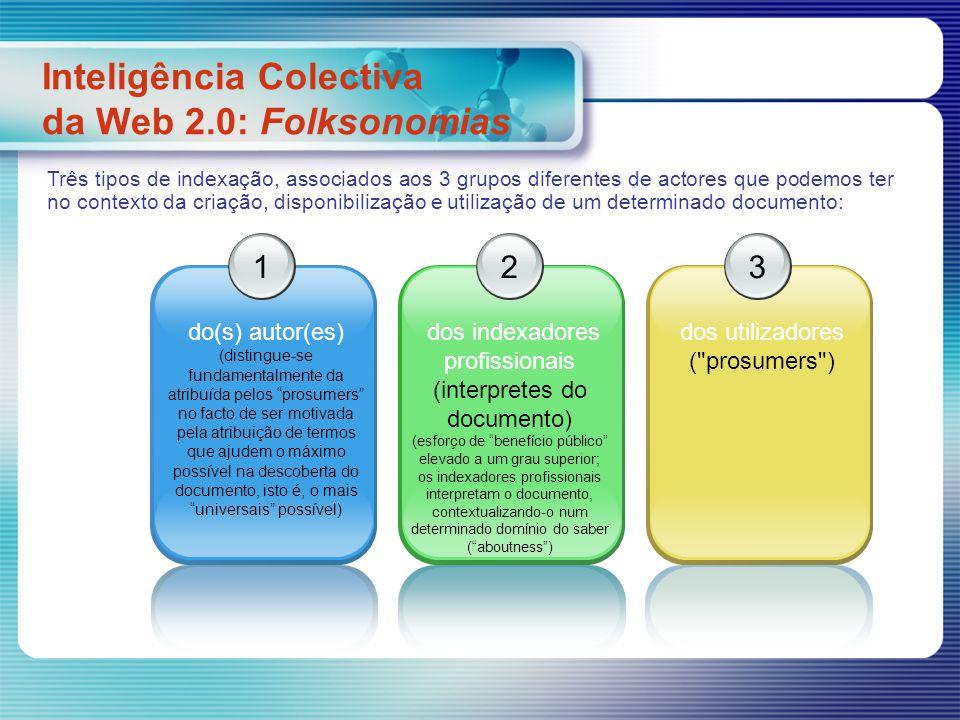 Inteligência Colectiva da Web 2.0: Folksonomias 1 do(s) autor(es) (distingue-se fundamentalmente da atribuída pelos prosumers no facto de ser motivada pela atribuição de termos que ajudem o máximo possível na descoberta do documento, isto é, o mais universais possível) 2 dos indexadores profissionais (interpretes do documento) (esforço de benefício público elevado a um grau superior; os indexadores profissionais interpretam o documento, contextualizando-o num determinado domínio do saber (aboutness) 3 dos utilizadores ( prosumers ) Três tipos de indexação, associados aos 3 grupos diferentes de actores que podemos ter no contexto da criação, disponibilização e utilização de um determinado documento: