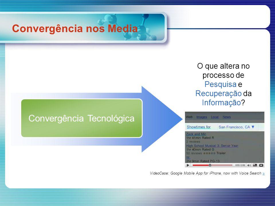 Convergência Tecnológica O que altera no processo de Pesquisa e Recuperação da Informação? Convergência nos Media VideoCase: Google Mobile App for iPh