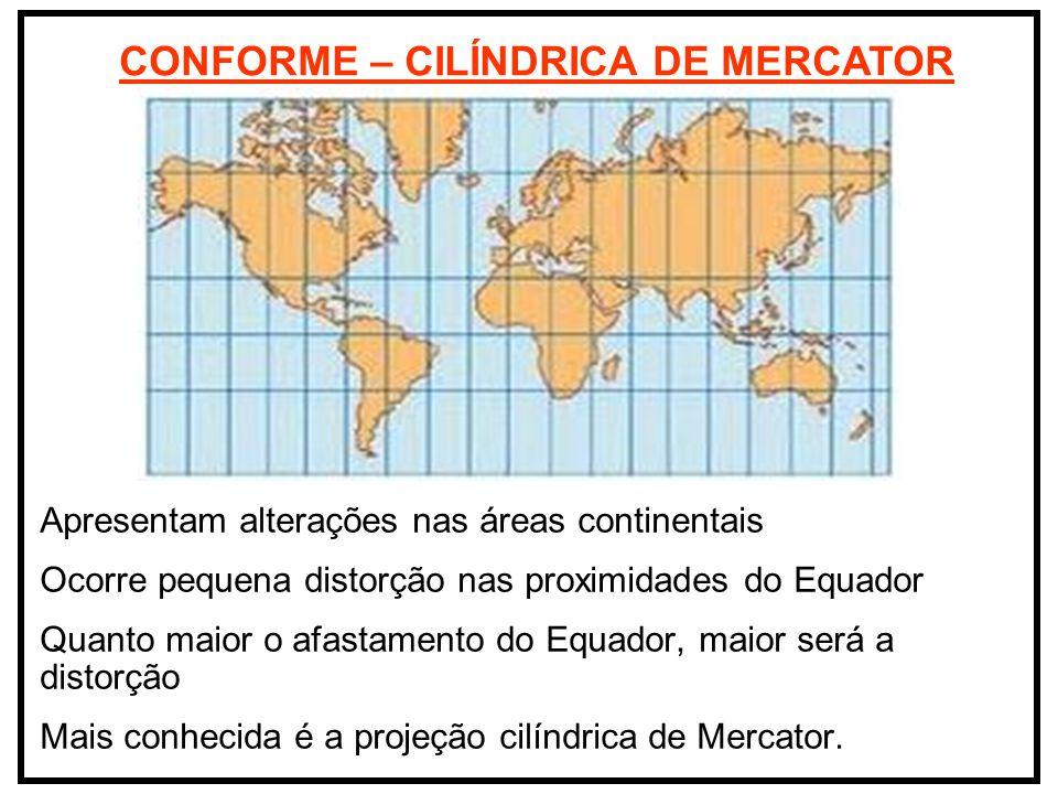 CONFORME – CILÍNDRICA DE MERCATOR Apresentam alterações nas áreas continentais Ocorre pequena distorção nas proximidades do Equador Quanto maior o afa