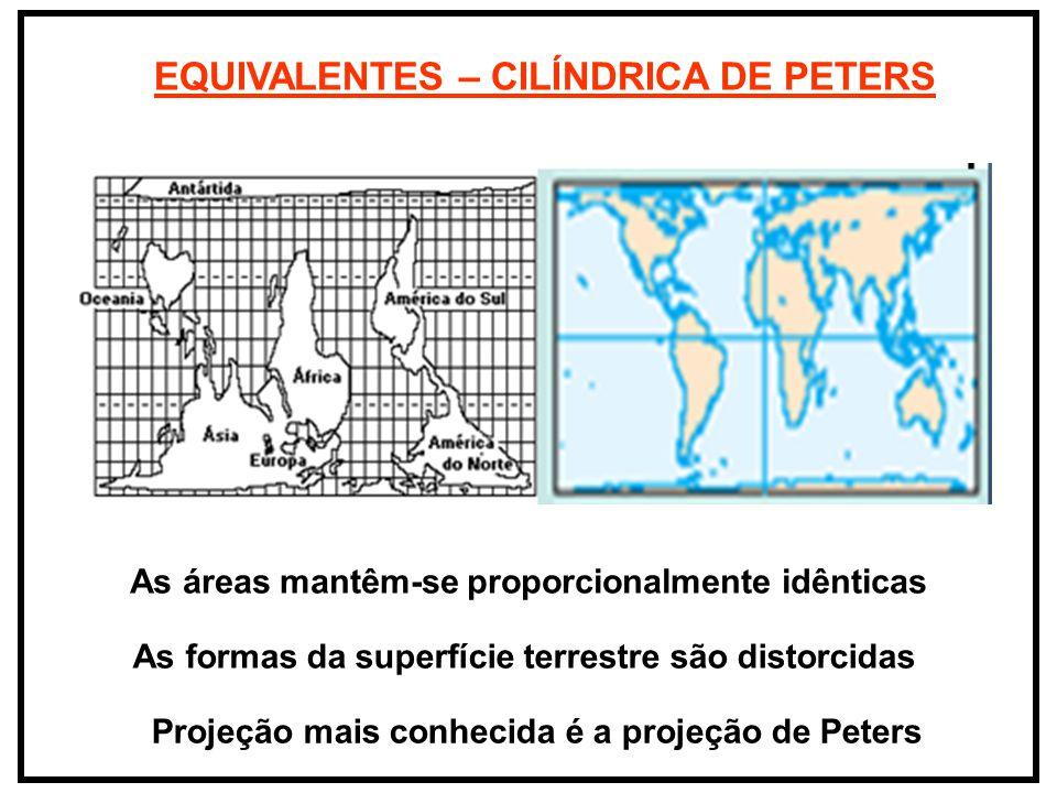 EQUIVALENTES – CILÍNDRICA DE PETERS As áreas mantêm-se proporcionalmente idênticas As formas da superfície terrestre são distorcidas Projeção mais con