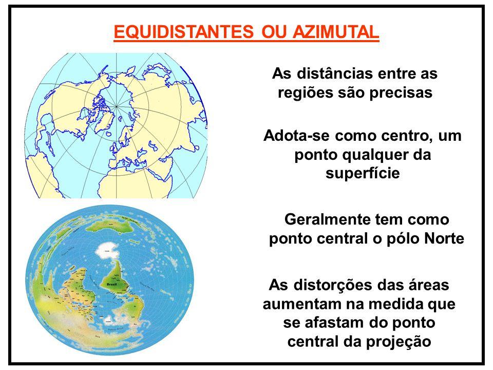 EQUIDISTANTES OU AZIMUTAL As distâncias entre as regiões são precisas Adota-se como centro, um ponto qualquer da superfície Geralmente tem como ponto