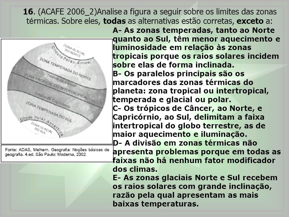 16. (ACAFE 2006_2)Analise a figura a seguir sobre os limites das zonas t é rmicas. Sobre eles, todas as alternativas estão corretas, exceto a: A- As z