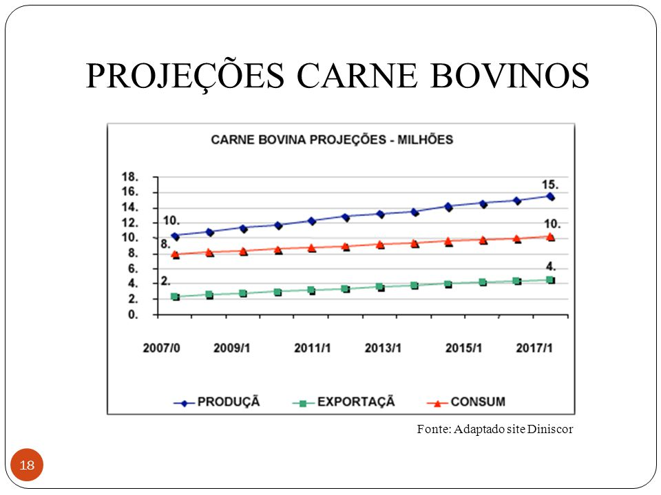 PROJEÇÕES CARNE BOVINOS 18 Fonte: Adaptado site Diniscor