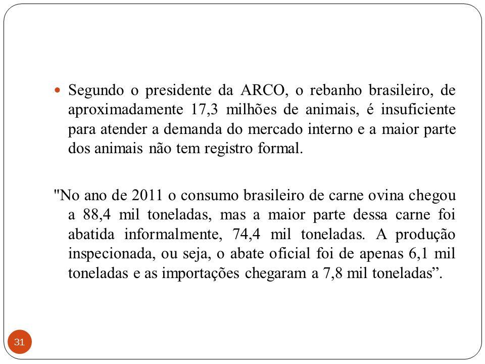 31 Segundo o presidente da ARCO, o rebanho brasileiro, de aproximadamente 17,3 milhões de animais, é insuficiente para atender a demanda do mercado in