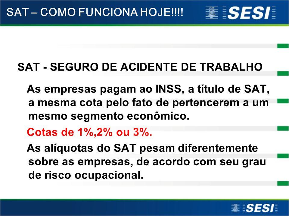 SAT - SEGURO DE ACIDENTE DE TRABALHO As empresas pagam ao INSS, a título de SAT, a mesma cota pelo fato de pertencerem a um mesmo segmento econômico.