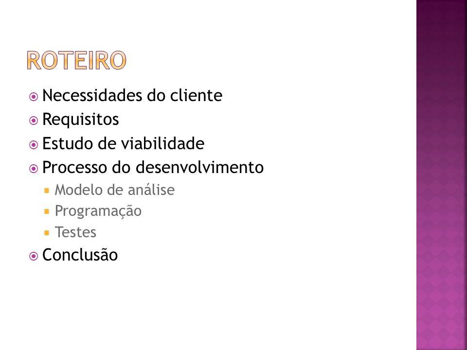 Necessidades do cliente Requisitos Estudo de viabilidade Processo do desenvolvimento Modelo de análise Programação Testes Conclusão