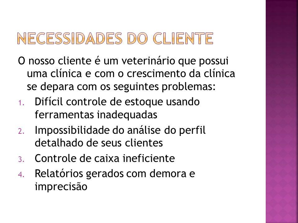 O nosso cliente é um veterinário que possui uma clínica e com o crescimento da clínica se depara com os seguintes problemas: 1. Difícil controle de es