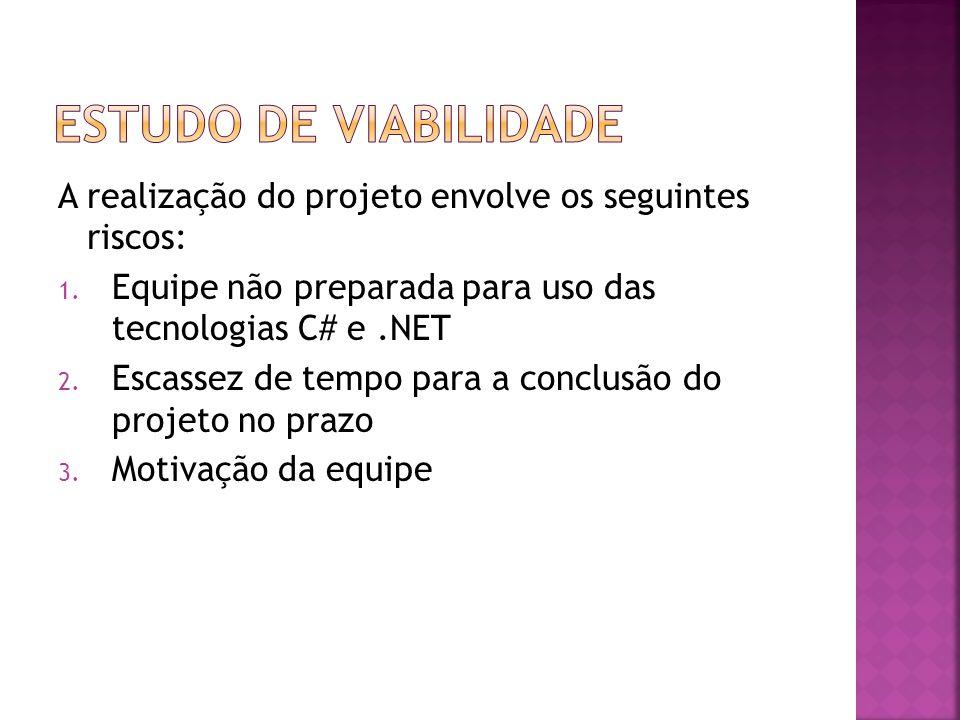A realização do projeto envolve os seguintes riscos: 1. Equipe não preparada para uso das tecnologias C# e.NET 2. Escassez de tempo para a conclusão d