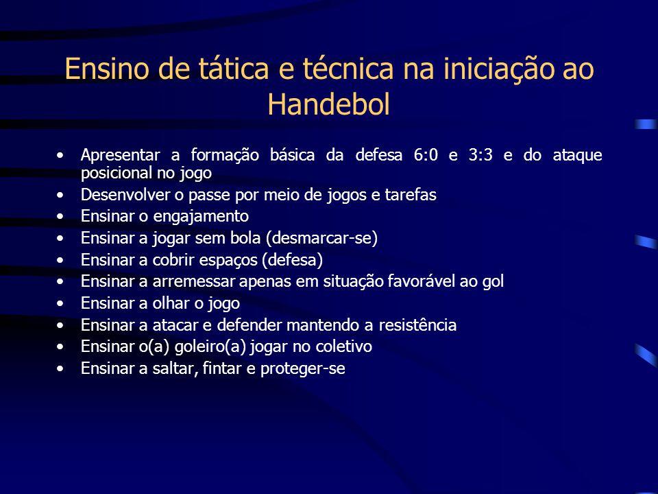 Ensino de tática e técnica na iniciação ao Handebol Apresentar a formação básica da defesa 6:0 e 3:3 e do ataque posicional no jogo Desenvolver o pass