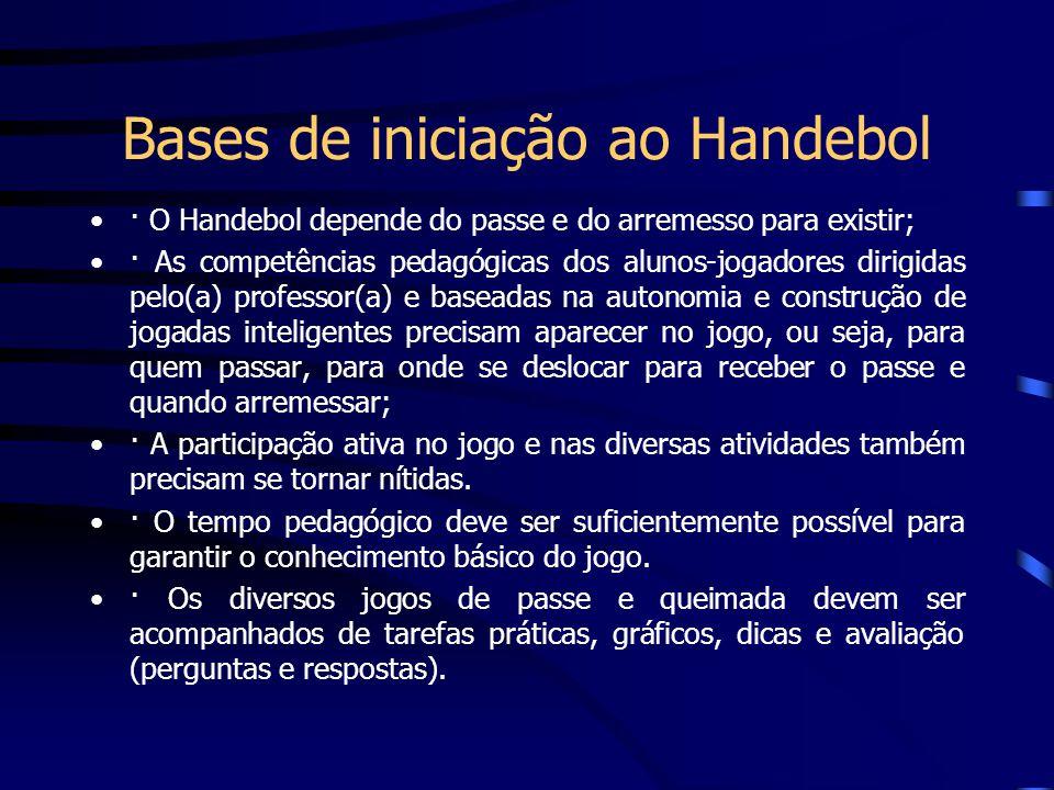 Bases de iniciação ao Handebol · O Handebol depende do passe e do arremesso para existir; · As competências pedagógicas dos alunos-jogadores dirigidas