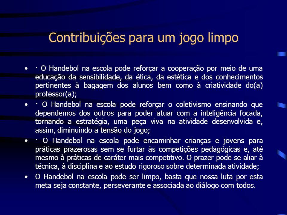 Contribuições para um jogo limpo · O Handebol na escola pode reforçar a cooperação por meio de uma educação da sensibilidade, da ética, da estética e