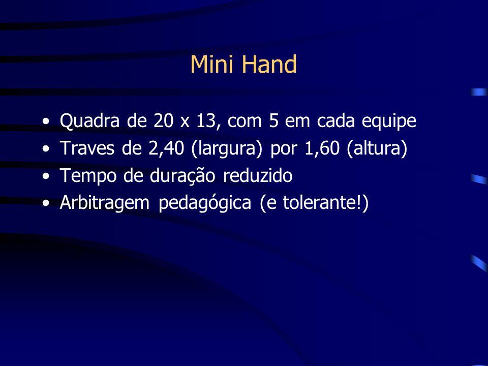 Mini Hand Quadra de 20 x 13, com 5 em cada equipe Traves de 2,40 (largura) por 1,60 (altura) Tempo de duração reduzido Arbitragem pedagógica (e tolera