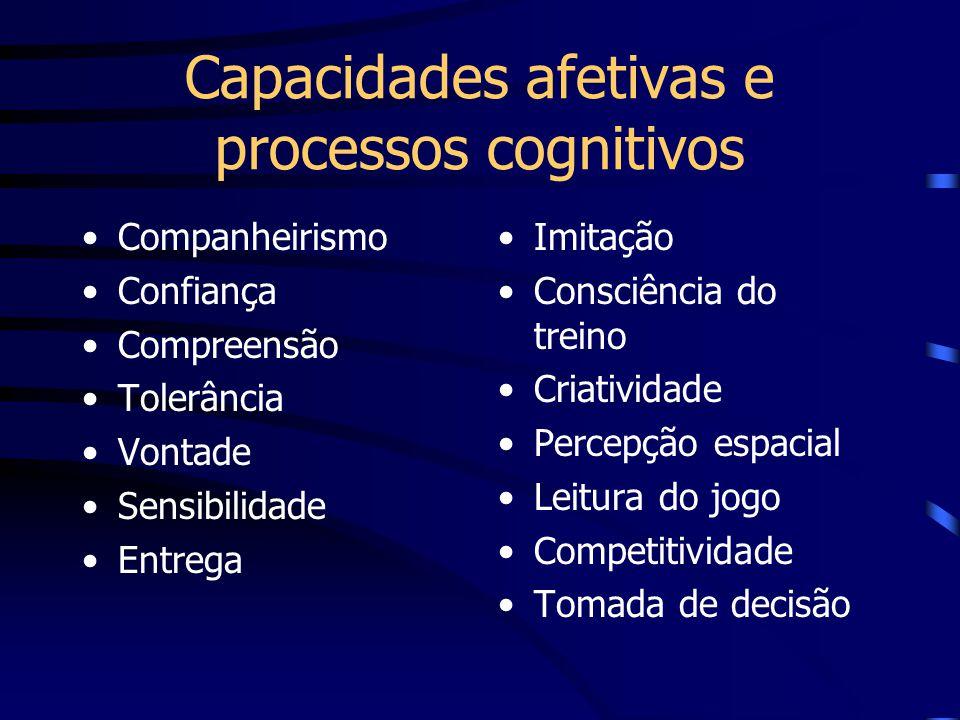 Capacidades afetivas e processos cognitivos Companheirismo Confiança Compreensão Tolerância Vontade Sensibilidade Entrega Imitação Consciência do trei