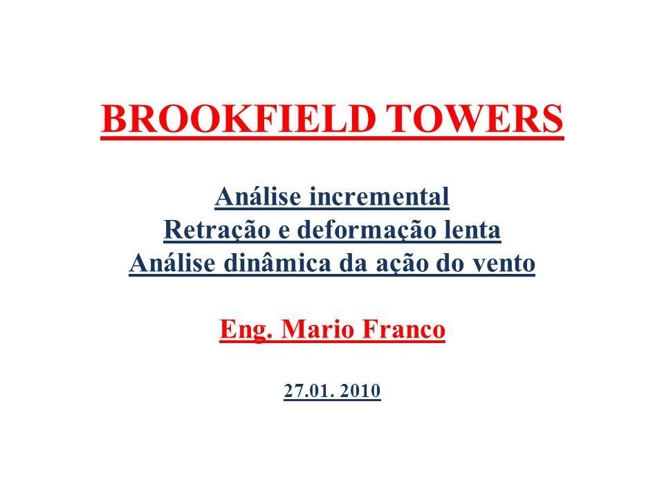 BROOKFIELD TOWERS Análise incremental Retração e deformação lenta Análise dinâmica da ação do vento Eng. Mario Franco 27.01. 2010