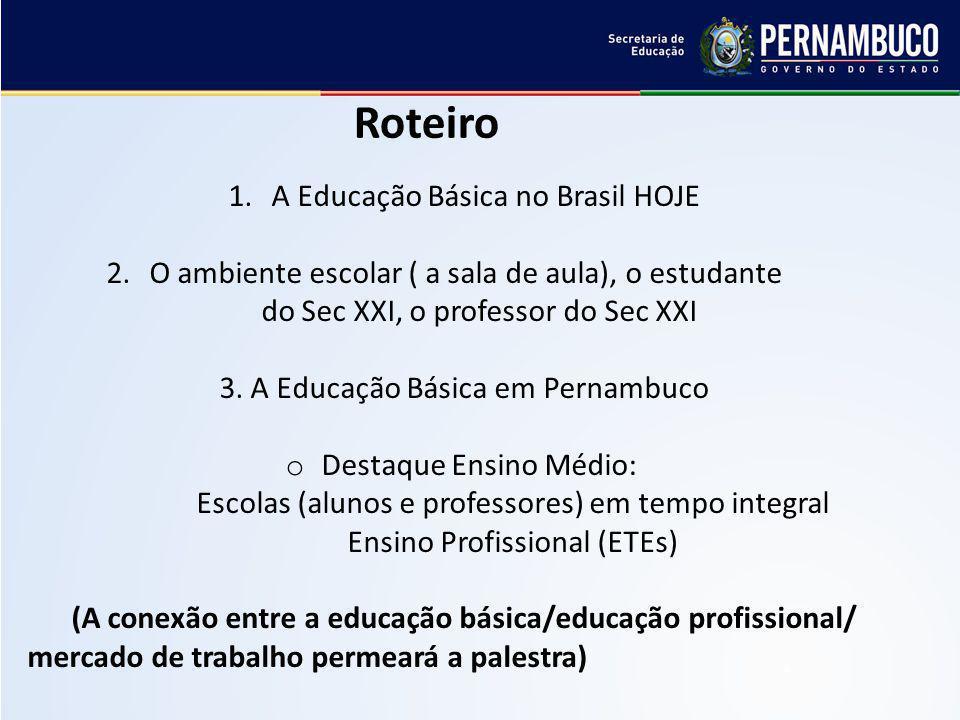 1. A Educação Básica no Brasil HOJE 2. O ambiente escolar ( a sala de aula), o estudante do Sec XXI, o professor do Sec XXI 3. A Educação Básica em Pe