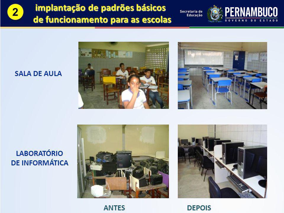 ANTES DEPOIS SALA DE AULA LABORATÓRIO DE INFORMÁTICA implantação de padrões básicos implantação de padrões básicos de funcionamento para as escolas 2 2