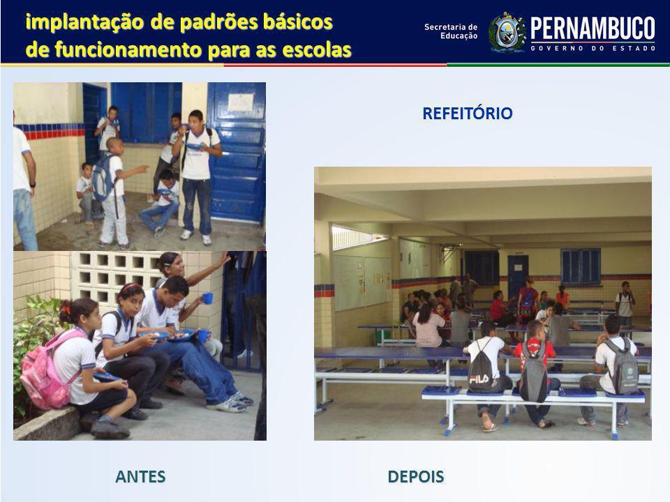 REFEITÓRIO REFEITÓRIO ANTES DEPOIS implantação de padrões básicos de funcionamento para as escolas