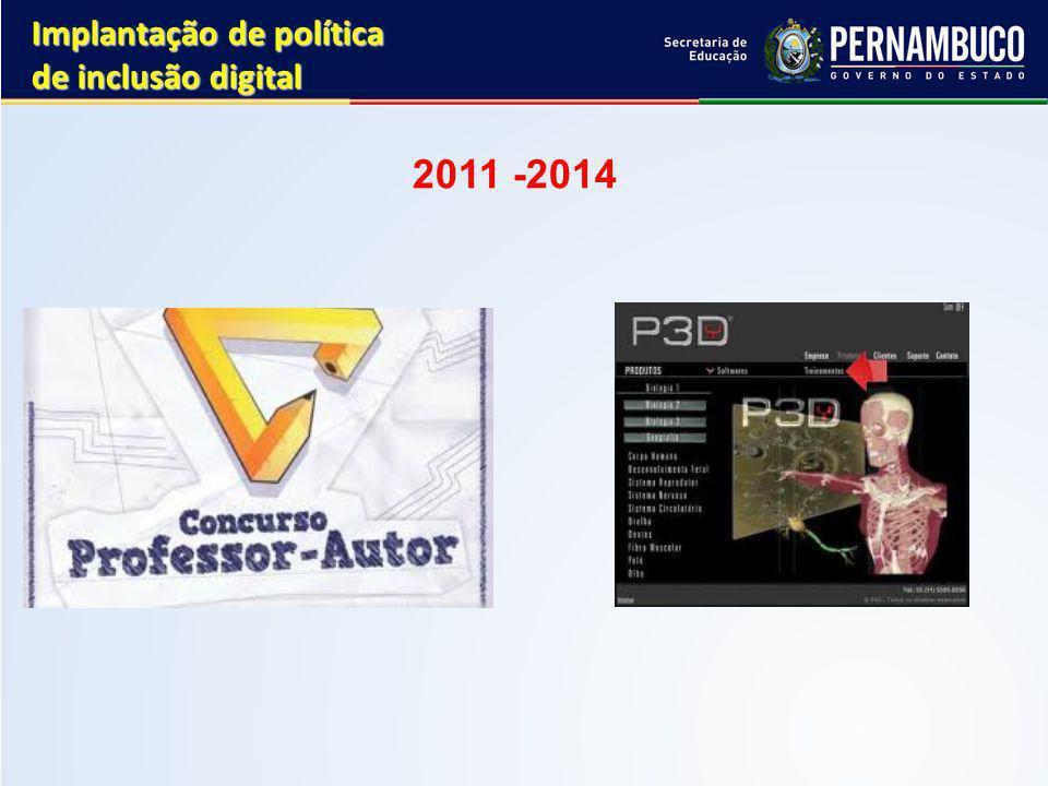 2011 -2014 Implantação de política de inclusão digital