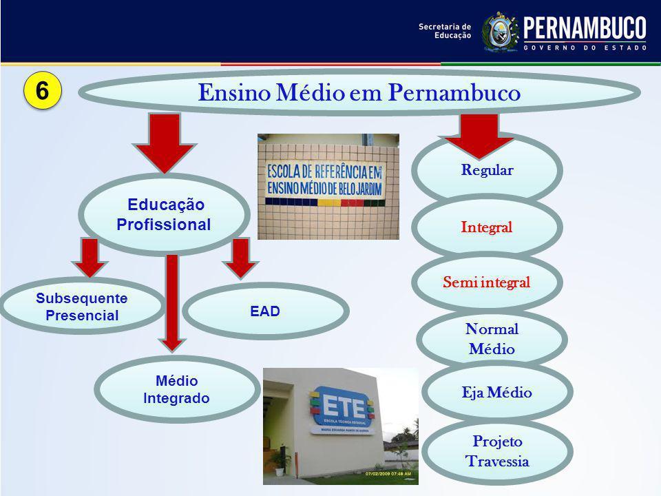 Regular Projeto Travessia Integral Subsequente Presencial Educação Profissional Ensino Médio em Pernambuco EAD Semi integral Médio Integrado Normal Mé