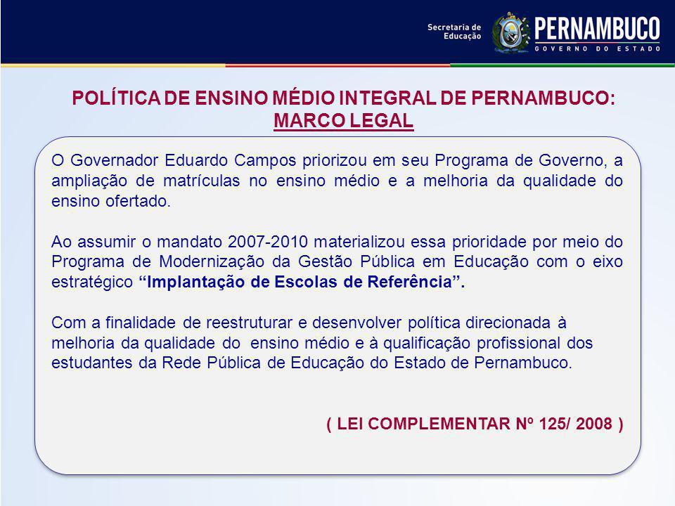POLÍTICA DE ENSINO MÉDIO INTEGRAL DE PERNAMBUCO: MARCO LEGAL (LEI COMPLEMENTAR 125 / 2008) O Governador Eduardo Campos priorizou em seu Programa de Governo, a ampliação de matrículas no ensino médio e a melhoria da qualidade do ensino ofertado.
