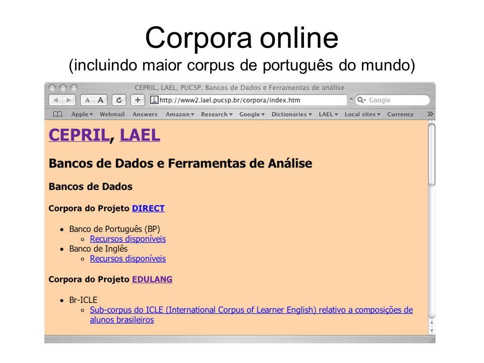 Corpora online (incluindo maior corpus de português do mundo)